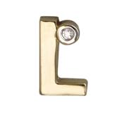 Кулон Викс буква L, латинская Л с бриллиантом, желтое золото