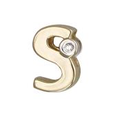 Кулон Викс буква латинская s с бриллиантом, желтое золото