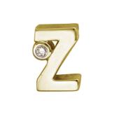 Кулон Викс буква Z латинская Зе с бриллиантом, желтое золото
