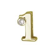 Кулон Викс цифра 1 (один, единица) с бриллиантом, желтое золото