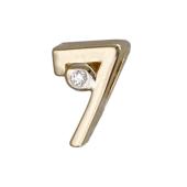 Кулон Викс цифра семь 7 с бриллиантом, желтое золото