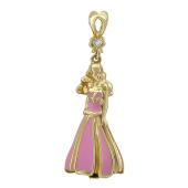 Подвеска Принцесса с бриллиантом и розовой эмалью, желтое золото 585 проба