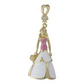 Подвеска Принцесса с букетом, розовой и белой эмалью и бриллиантом, желтое золото 585 проба