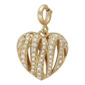 Кулон Горячее Сердце с бриллиантами, желтое золото