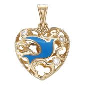 Кулон Свободное Сердце, эмаль голубая, бриллиант, голубь, белое золото 585 проба
