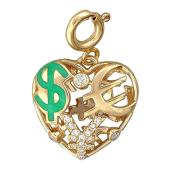 Кулон Щедрое Сердце со знаком доллар, евро и юань, цифрами, бриллианты и зеленая эмаль, желтое золото