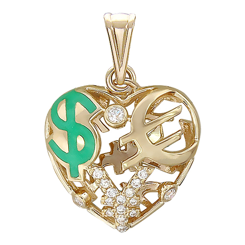 Кулон Щедрое Сердце с бриллиантами и зеленой эмалью, знак доллара евро и юань, желтое золото