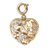 Кулон Щедрое Сердце со знаком доллар, евро и юань, с цифрами и бриллиантами, желтое золото