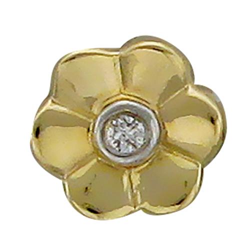 Кулон Викс Цветочек с бриллиантом, желтое золото