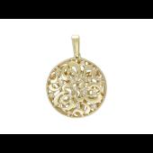 Кулон круглый с бриллиантами и узорами, желтое золото 585 проба