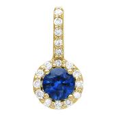 Кулон круглый с бриллиантами и сапфиром (рубином, изумрудом), желтое золото
