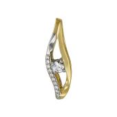 Кулон Волна с бриллиантами и сапфиром, желтое золото