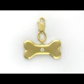 Кулон Косточка с бриллиантом на карабине, желтое золото 750 проба