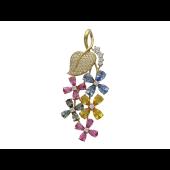 Кулон Виноград с бриллиантами и фантазийными сапфирами, желтое золото 750 проба