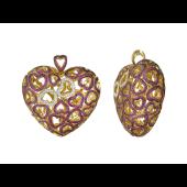 Кулон Сердце с сердечками из рубинов и бриллиантов, желтое золото 750 проба