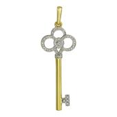 Кулон Ключик с бриллиантами, желтое золото 750 проба