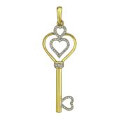 Кулон Ключик с бриллиантами, сердечки, желтое золото 750 проба
