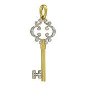 Кулон Ключик Ажурный с бриллиантами, желтое золото