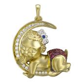 Кулон Малыш на полумесяце, бриллианты, рубины, сапфир, желтое золото 750 проба