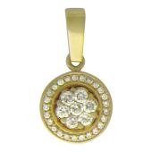 Кулон круглый с бриллиантами, желтое золото 750 проба