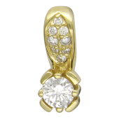 Кулон с бриллиантами, желтое золото 750 проба