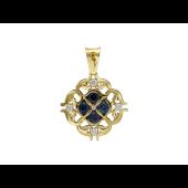 Кулон Витраж с бриллиантами и сапфирами, желтое золото 750 проба