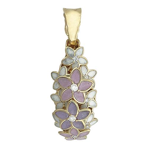 Кулон Цветы с сиреневой, розовой и белой эмалью и бриллиантами, желтое золото