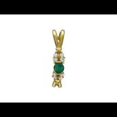 Кулон с круглым изумрудом, бриллианты, желтое золото 750 проба