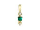 Кулон Дорожка с изумрудом и бриллиантами, желтое золото, 750 проба