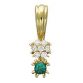 Кулон Малинка с бриллиантами и рубином, желтое золото