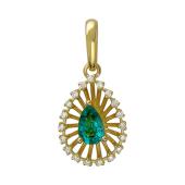Кулон Колибри с бриллиантами и изумрудом, желтое золото