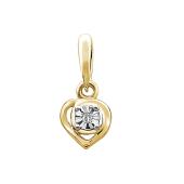 Подвеска Сердце с бриллиантом из желтого золота 585 пробы