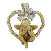 Подвеска Ангел в Сердце с бриллиантами, желтое и белое золото