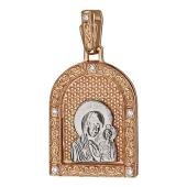 Казанская Икона Божьей Матери в окладе с куполом, шесть бриллиантов, образ из белого золота на красном золоте