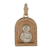 Господь Вседержитель в прямоугольном окладе, с бриллиантами, комбинированное золото, высота 30 мм