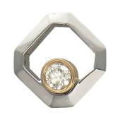 Кулон квадратный с бриллиантом, комбинированное золото