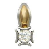 Кулон Классика с бриллиантом, красное и белое золото