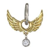 Кулон Крылья Ангела с бриллиантом, желтое и белое золото