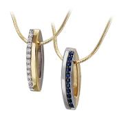 Кулон Дуэт с бриллиантами и сапфирами, желтое и белое золото