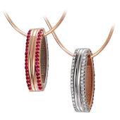 Кулон Дуэт с бриллиантами и рубинами, красное и белое золото