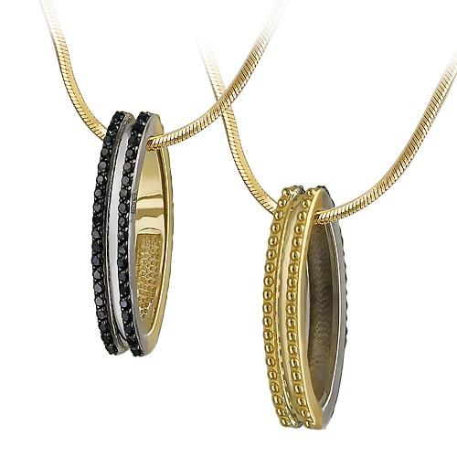 Кулон Дуэт с чёрными бриллиантами, желтое и белое золото