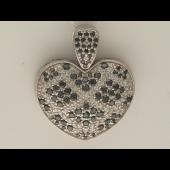 Кулон Сердце с чёрными и прозрачными бриллиантами, белое золото 750 пробы