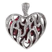 Кулон Горячее Сердце с бриллиантами и рубиновыми шарами внутри, языки пламени, белое золото 750 проба