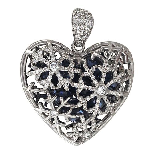 Кулон Холодное Сердце с бриллиантами и фианитовыми шарами внутри, Снежинки, белое золото 750 проба