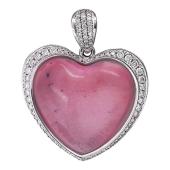 Кулон Чистое Сердце, кварц и дорожка бриллиантов, белое золото 750 пробы