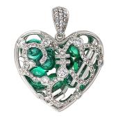 Кулон Щедрое Сердце, фианит зеленый кабашон, бриллиантовая дорожка, знак доллар, евро, юань, фунт, белое золото