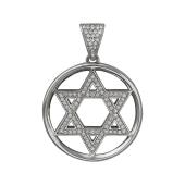 Кулон Звезда Давида с бриллиантами, белое золото 750 проба