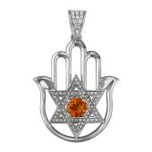 Кулон амулет Хамса и Рука Фатимы с бриллиантами и фантазийным сапфром, белое золото 750 проба