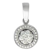 Кулон Малинки круглый с бриллиантами, белое золото 750 проба