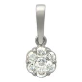 Кулон Малинка с бриллиантами, белое золото 750 проба